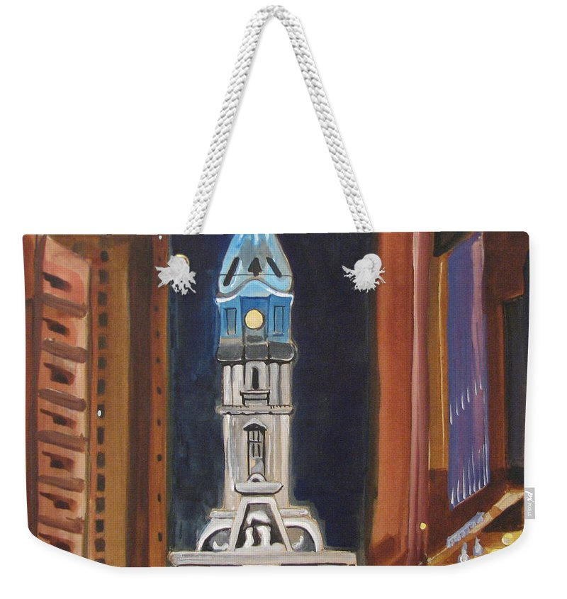Landmarks Weekender Tote Bag featuring the painting Philadelphia City Hall by Patricia Arroyo