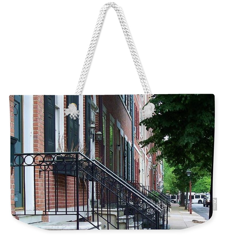 Architecture Weekender Tote Bag featuring the photograph Philadelphia Neighborhood by Debbi Granruth