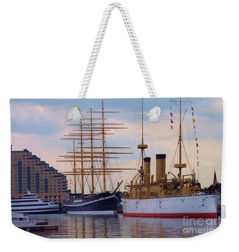 Philadelphia Weekender Tote Bag featuring the photograph Philadelphia Waterfront Olympia by Debbi Granruth