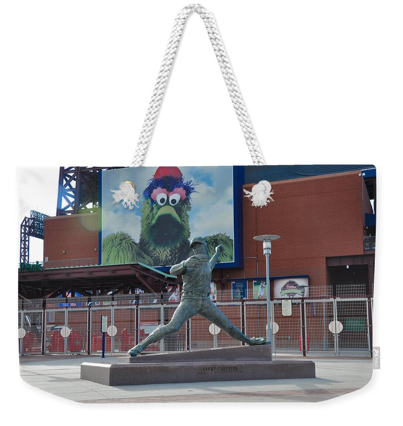 Phillies Weekender Tote Bag featuring the photograph Phillies Steve Carlton Statue by Bill Cannon