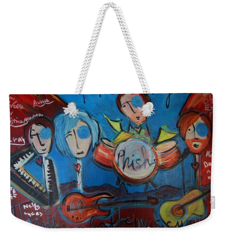 Painting Weekender Tote Bag featuring the painting Phish For Red Rocks Amphitheater by Laurie Maves ART