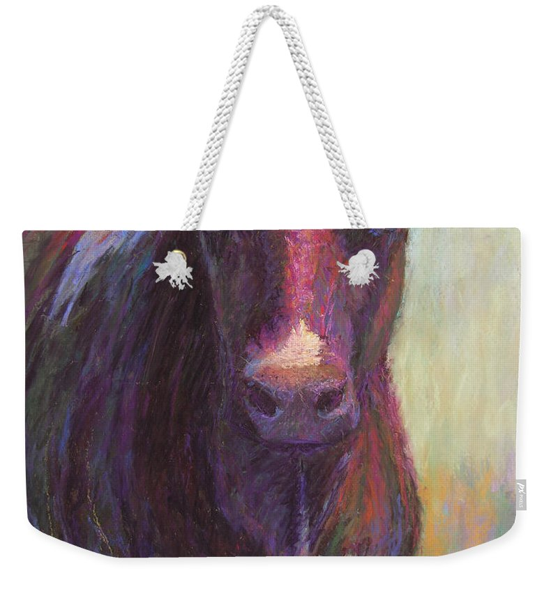 Cows Weekender Tote Bag featuring the painting Phoebe Of Merry Mead Farm by Susan Williamson