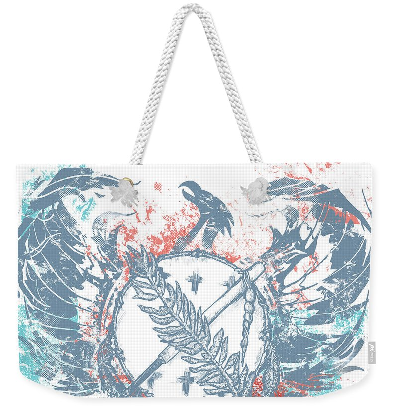 Chadlonius Weekender Tote Bag featuring the drawing Phoenix by Chad Lonius