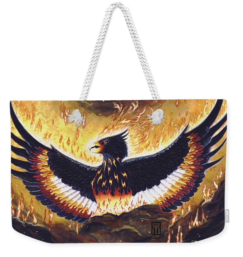 Phoenix Weekender Tote Bag featuring the painting Phoenix Rising by Melissa A Benson