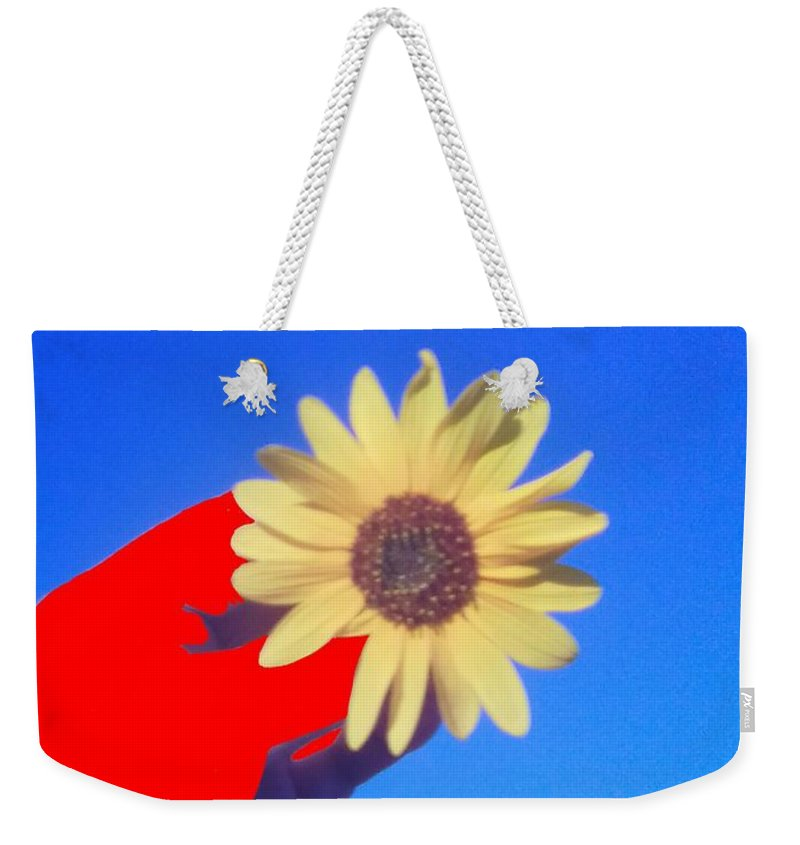 Photograph Weekender Tote Bag featuring the photograph Phone Cam 491 Sun Flower by Bobby Yazzie