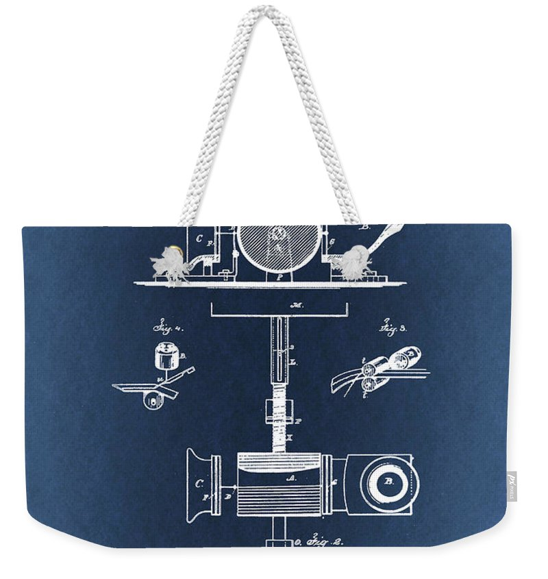 Thomas Edison Weekender Tote Bag featuring the drawing Phonograph Patent From 1878 Blueprint by Art Spectrum