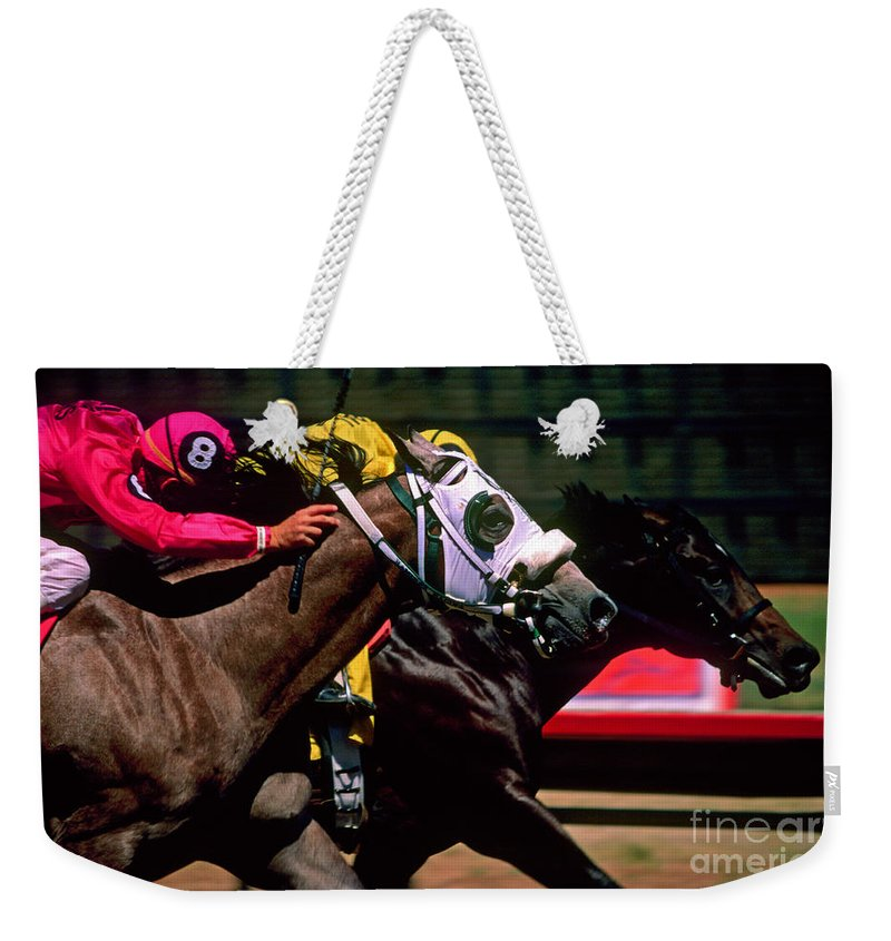 Horse Weekender Tote Bag featuring the photograph Photo Finish by Kathy McClure