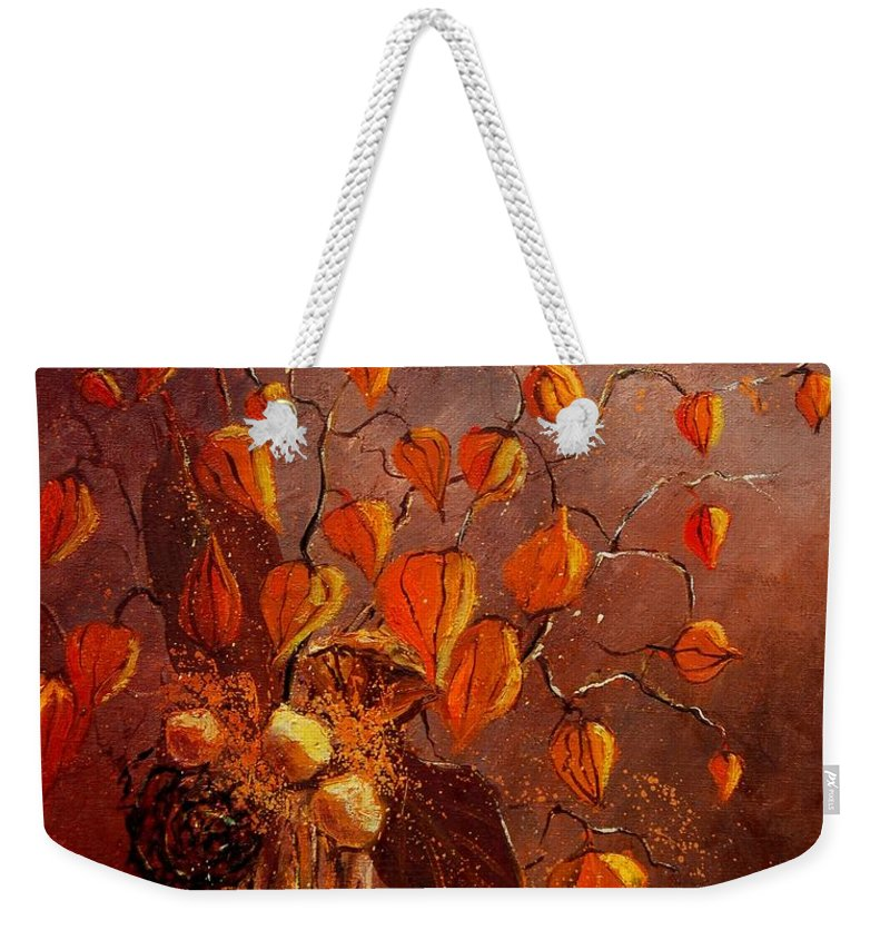 Poppies Weekender Tote Bag featuring the painting Physialis by Pol Ledent