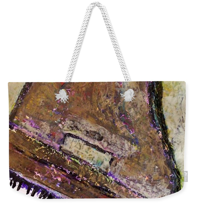 Piano Weekender Tote Bag featuring the painting Piano In Bronze by Anita Burgermeister