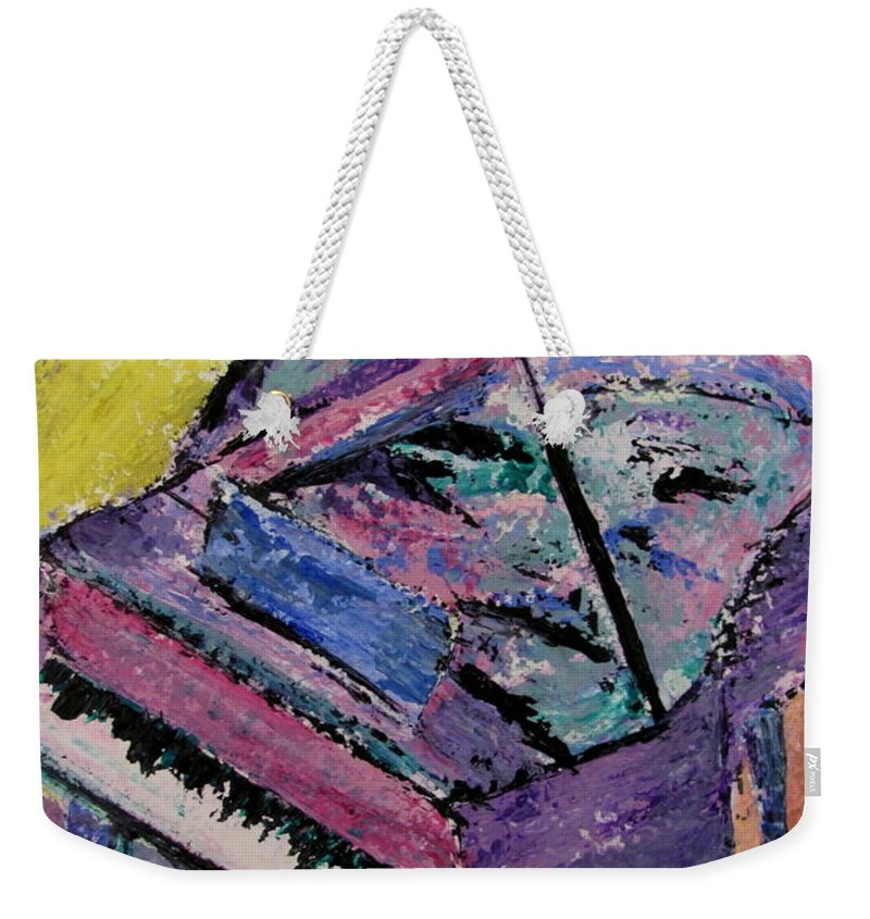 Piano Weekender Tote Bag featuring the painting Piano Pink by Anita Burgermeister