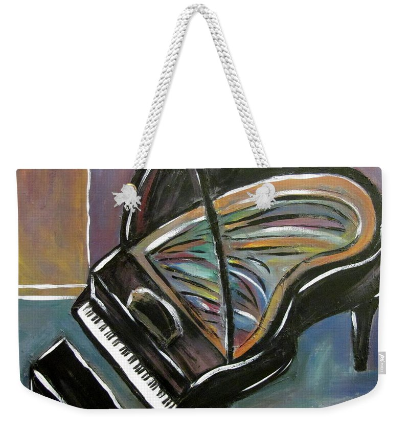 Impressionist Weekender Tote Bag featuring the painting Piano With High Heel by Anita Burgermeister