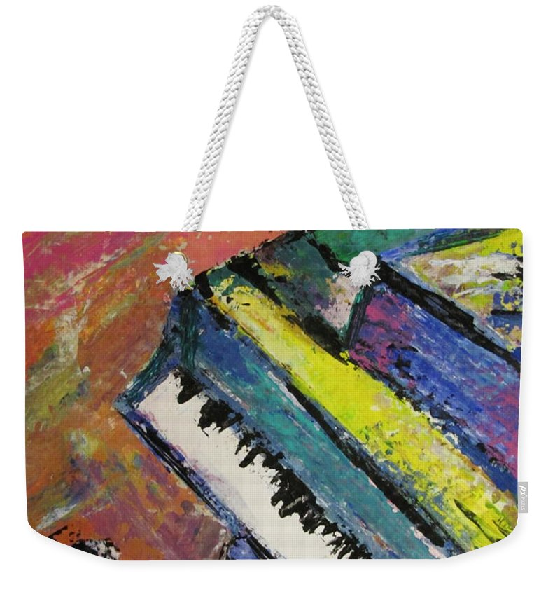 Music Weekender Tote Bag featuring the painting Piano With Yellow by Anita Burgermeister