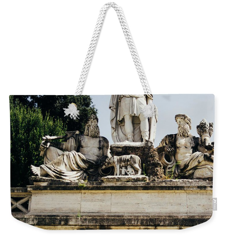 Piazza Weekender Tote Bag featuring the photograph Piazza Del Popolo Fountain by Pati Photography