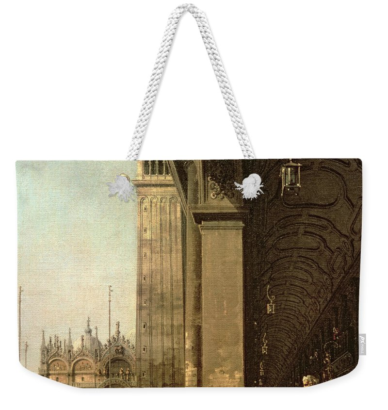 Canaletto Weekender Tote Bag featuring the painting Piazza Di San Marco And The Colonnade Of The Procuratie Nuove by Canaletto