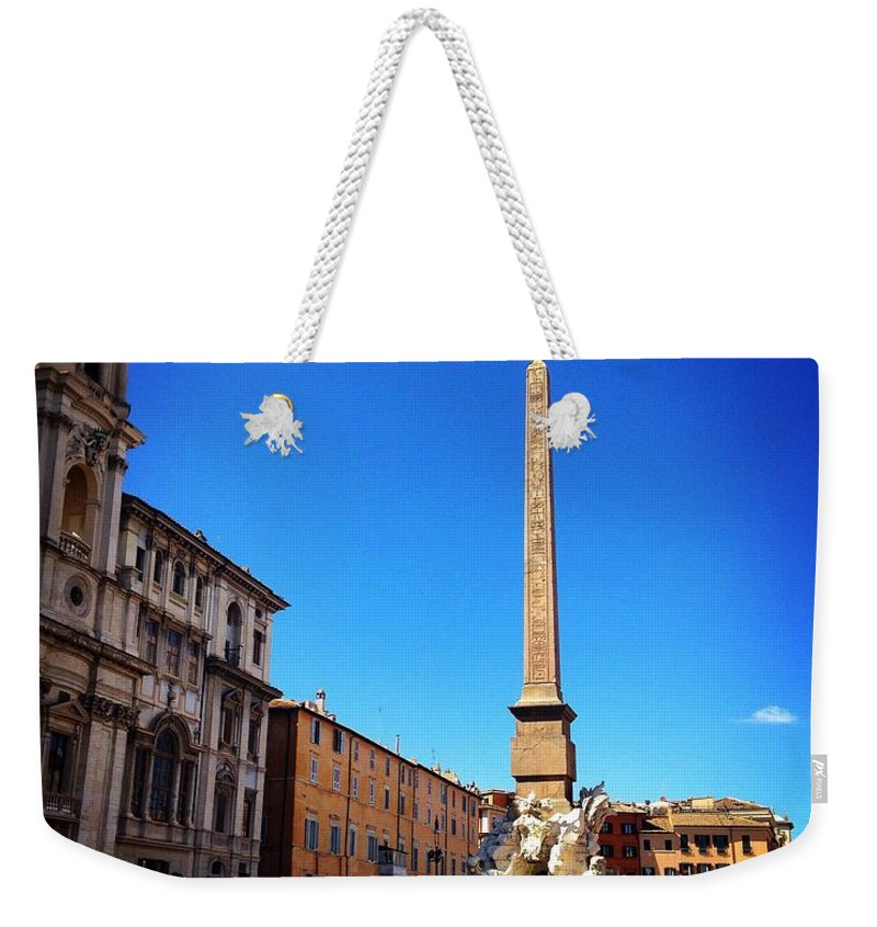 Italy Weekender Tote Bag featuring the photograph Piazza Navona 2 by Angela Rath
