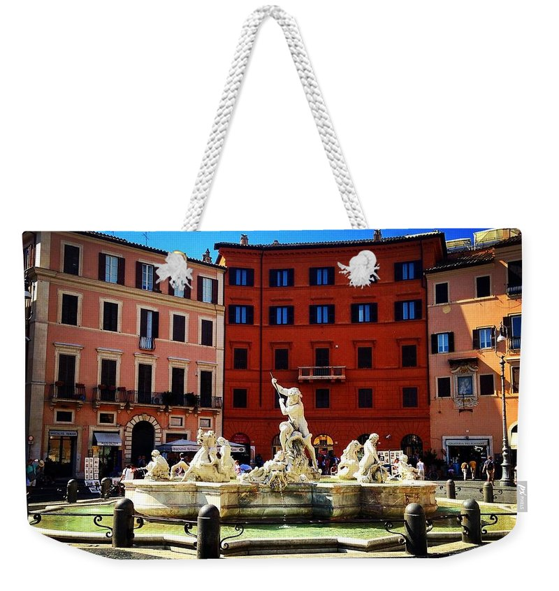 Italy Weekender Tote Bag featuring the photograph Piazza Navona 4 by Angela Rath