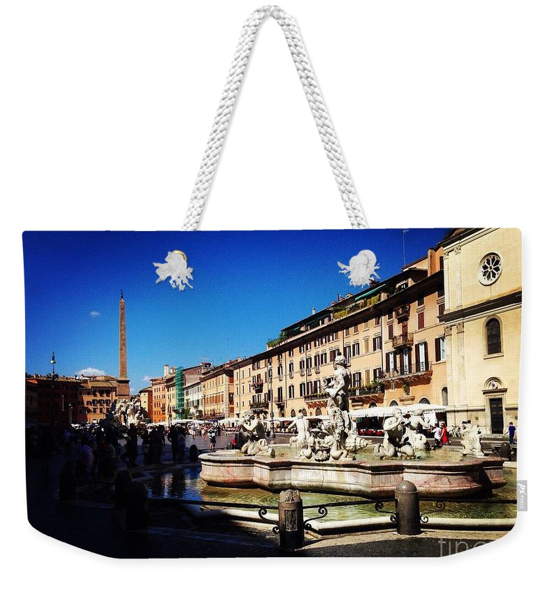 Italy Weekender Tote Bag featuring the photograph Piazza Navona by Angela Rath