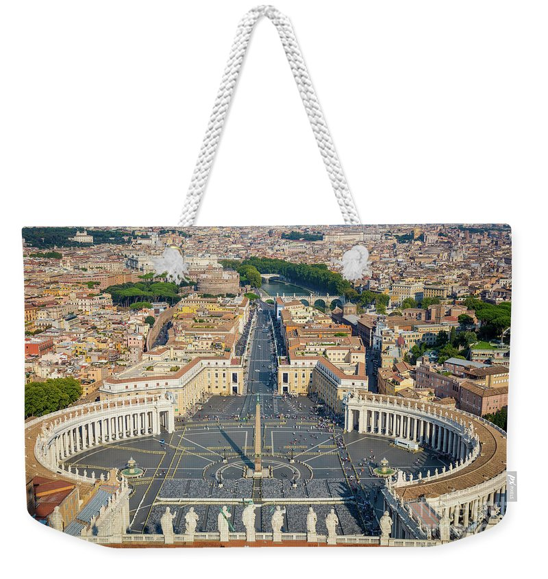 Catholic Weekender Tote Bag featuring the photograph Piazza San Pietro by Inge Johnsson