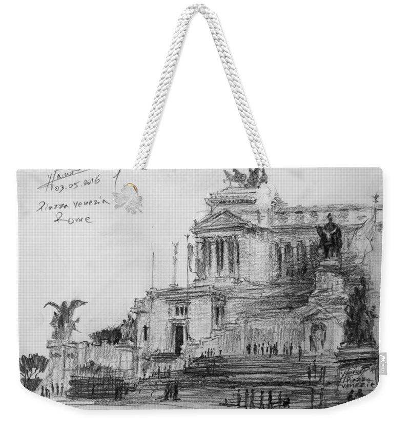 Piazza Venezia Weekender Tote Bag featuring the painting Piazza Venezia Rome by Ylli Haruni