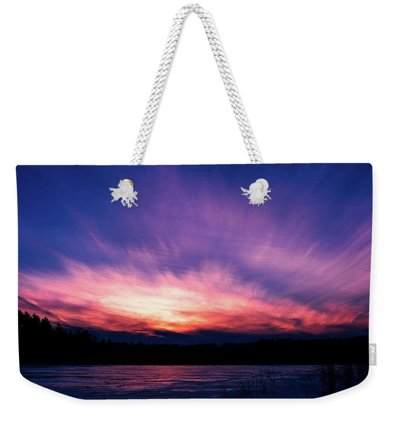Sunset Weekender Tote Bag featuring the photograph Pickerel Lake by Scott Norris
