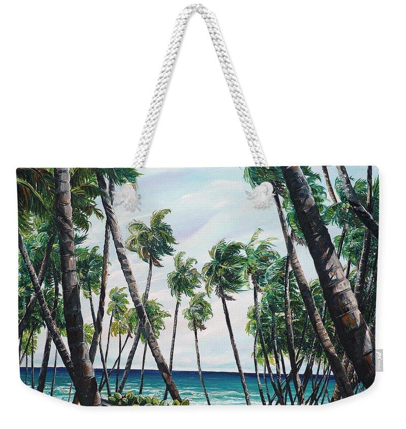 Beach Paintings Ocean Paintings  Caribbean Paintings Coconuts Paintings Tropical Paintings Truck Paintings Sea Paintings Trinidad And Tobago Paintings Tropical Paintings. Greeting Card Paintings Canvas Print Paintings Poster Paintings Weekender Tote Bag featuring the painting Picking Coconuts .. Mayaro by Karin Dawn Kelshall- Best