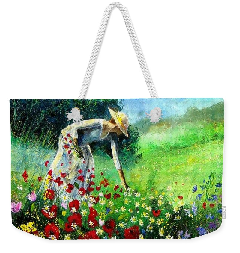 Poppies Weekender Tote Bag featuring the painting Picking Flower by Pol Ledent