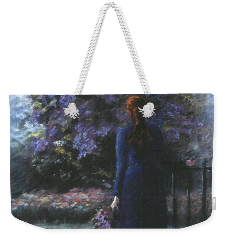 Woman Lilac Flower Tree Weekender Tote Bag featuring the pastel Picking Lilacs by Pat Snook
