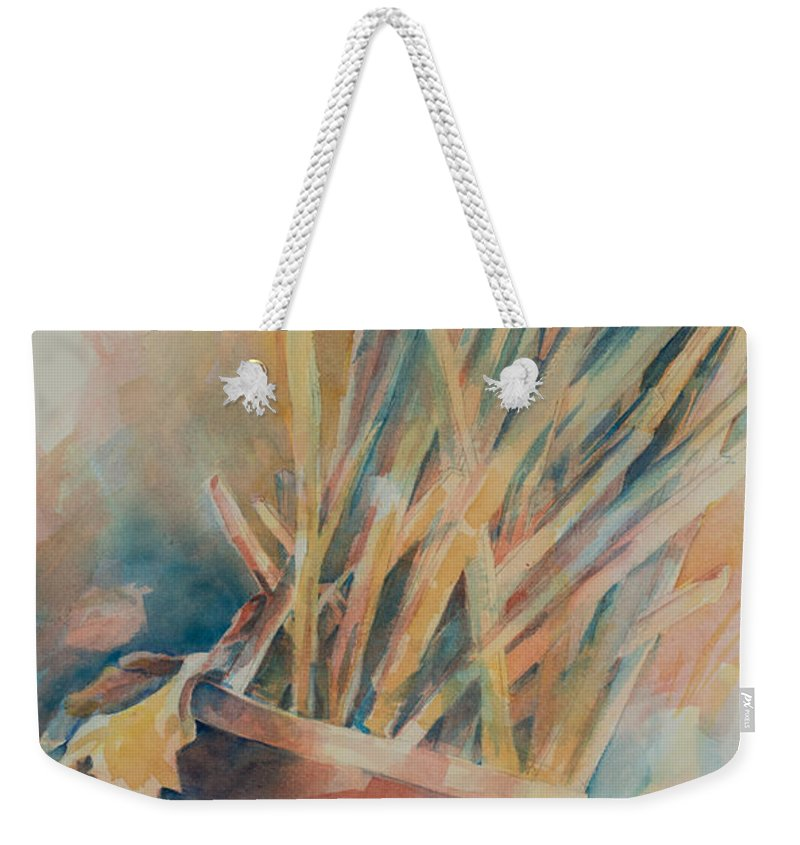 Watercolor Weekender Tote Bag featuring the painting Pickup Sticks by Lee Beuther