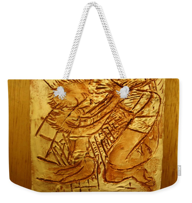 Jesus Weekender Tote Bag featuring the ceramic art Picnic - Tile by Gloria Ssali