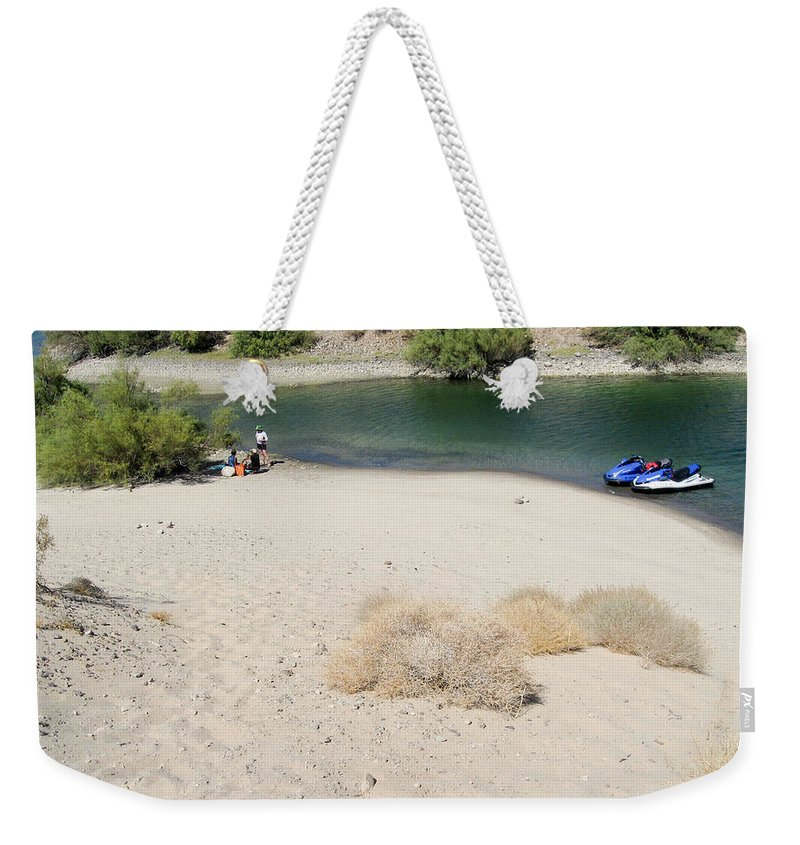 Water Weekender Tote Bag featuring the photograph Picnic On Lake Mohave by Julie Niemela