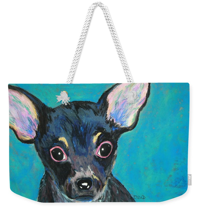 Dog Weekender Tote Bag featuring the painting Pico by Melinda Etzold