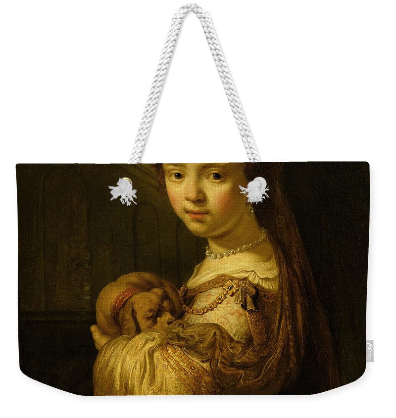 Picture Weekender Tote Bag featuring the painting Picture Of A Young Girl by Govaert Flinck