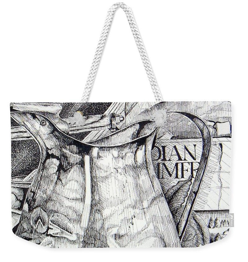 Still Life Weekender Tote Bag featuring the drawing Picture Of Pitcher by Linda Shackelford