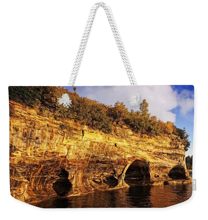Pictured Ricks National Lakeshore Weekender Tote Bag featuring the photograph Pictured Rocks Caves by LuAnn Griffin