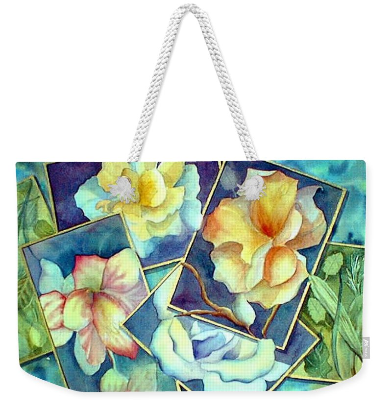 Watercolor Weekender Tote Bag featuring the painting Pictures At An Exhibition by Debbie Lewis