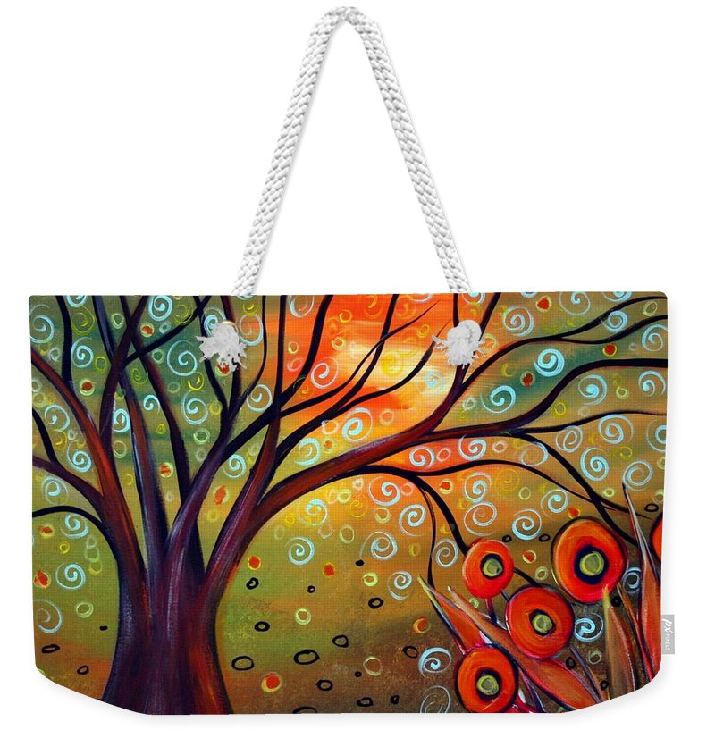 Landscape Weekender Tote Bag featuring the painting Piece Of Eden by Luiza Vizoli