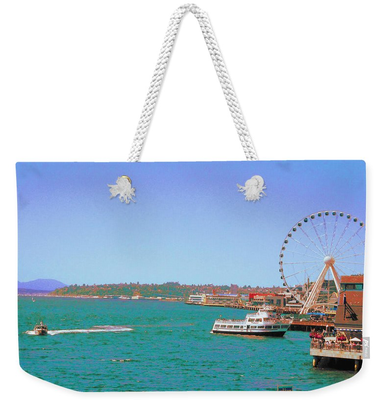 Landscape Weekender Tote Bag featuring the photograph Pier 56 Action by Maro Kentros
