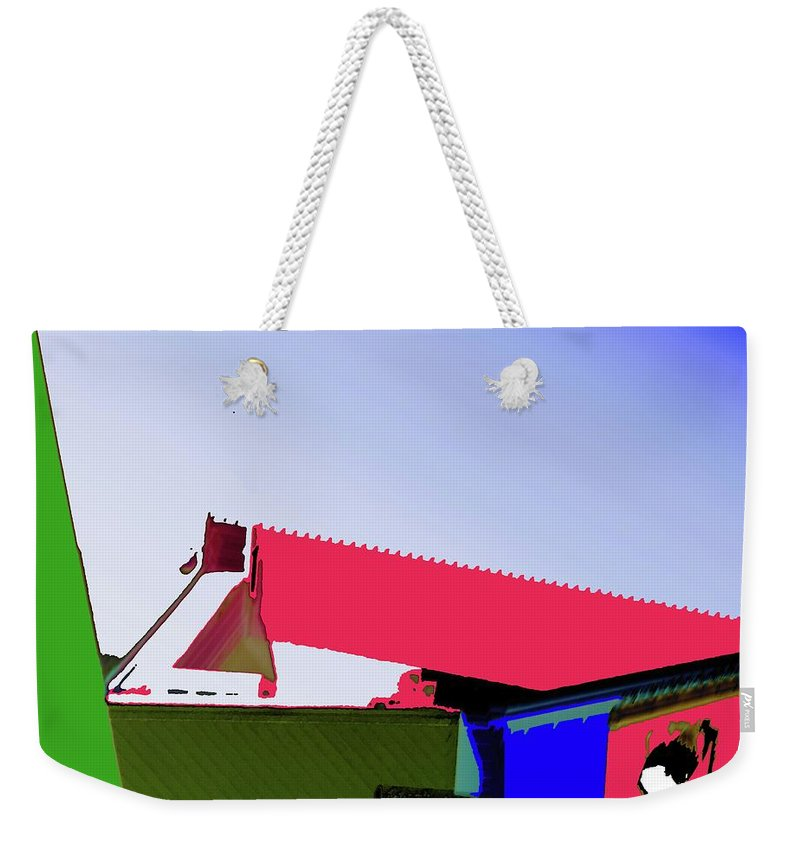 Pier Weekender Tote Bag featuring the digital art Pier Abstraction by Ronald Irwin