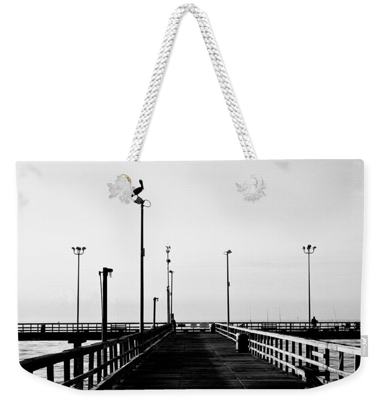 Bird Weekender Tote Bag featuring the photograph Pier And Pelican by Marilyn Hunt