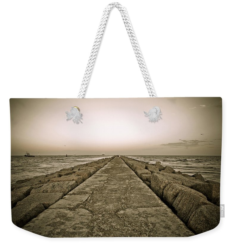 Water Weekender Tote Bag featuring the photograph Pier At Sunset by Marilyn Hunt