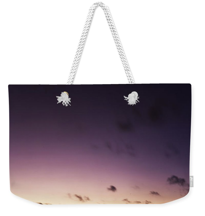 Pier Weekender Tote Bag featuring the photograph Pier Moon And Venus by Fran Gallogly