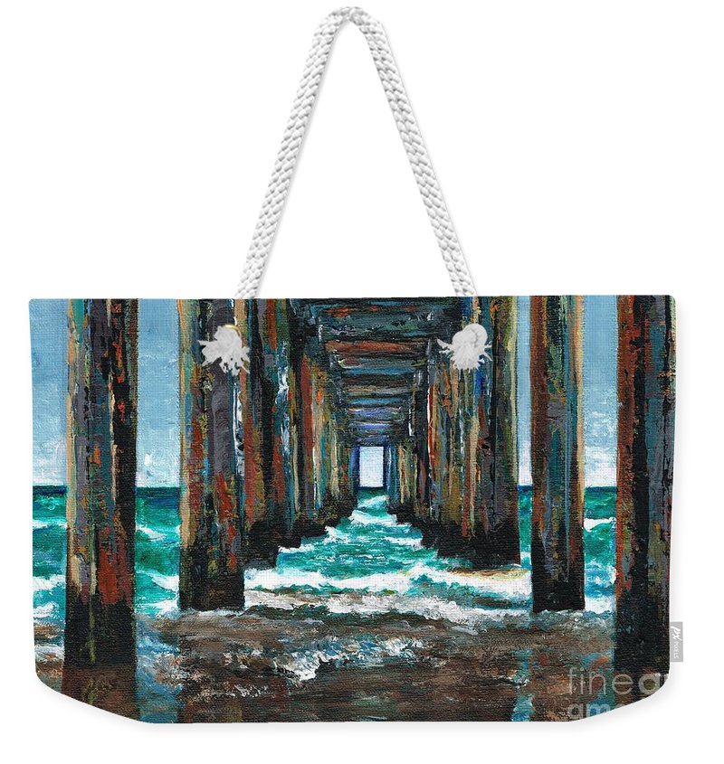 Ocean Weekender Tote Bag featuring the painting Pier One by Frances Marino
