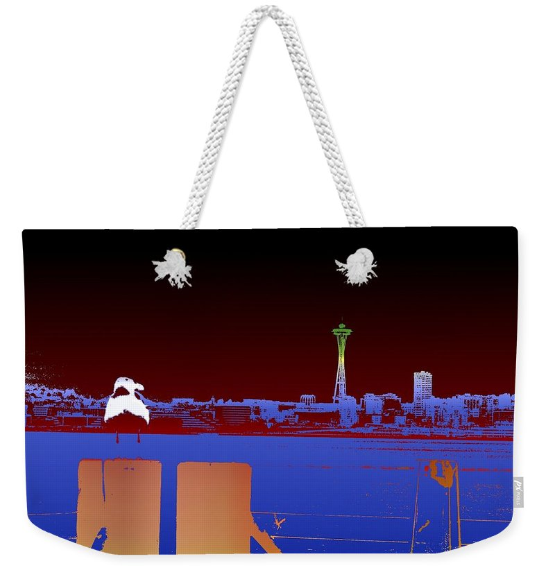 Seattle Weekender Tote Bag featuring the digital art Pier With A View by Tim Allen