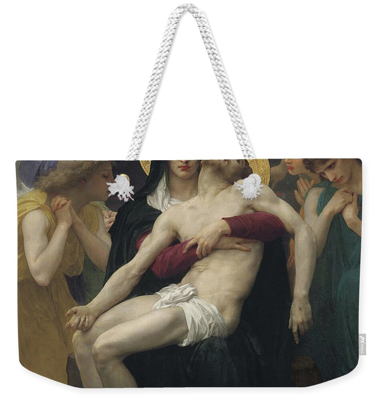 Pieta Weekender Tote Bag featuring the painting Pieta by William Adolphe Bouguereau