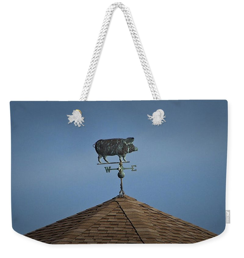 Pig Weekender Tote Bag featuring the photograph Pig Weathervane Ocean Isle North Carolina by Teresa Mucha