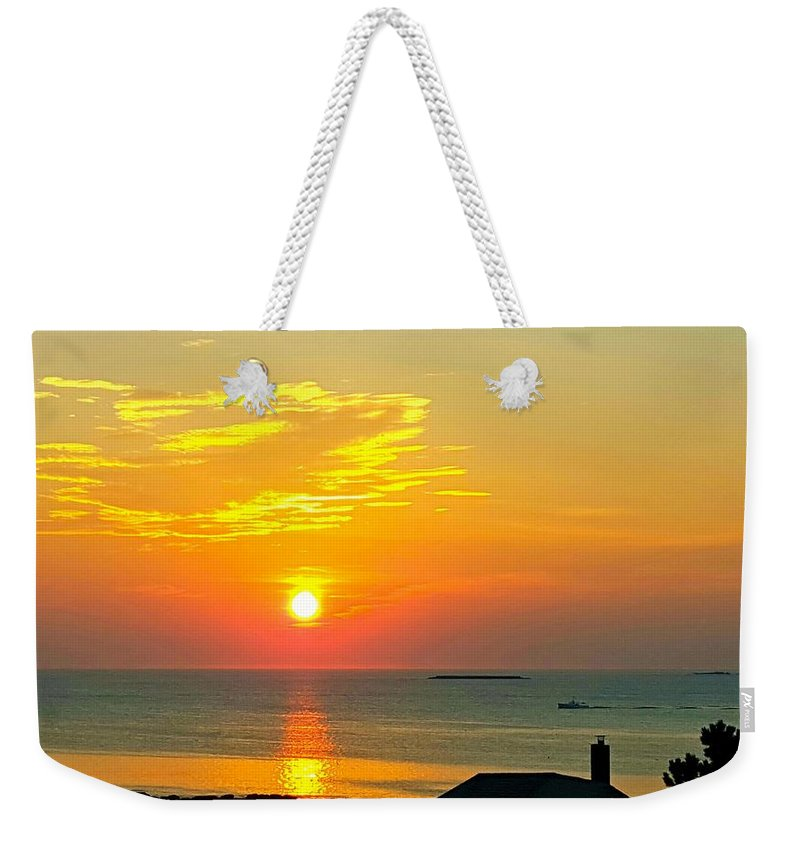 Bright Yellow Sky With Rising Sun Weekender Tote Bag featuring the photograph Pigeon Cove Summer Sunrise by Harriet Harding