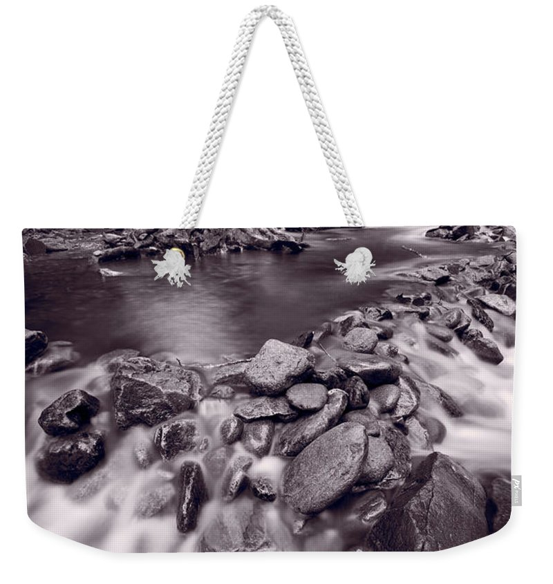 Great Weekender Tote Bag featuring the photograph Pigeon Forge River Great Smoky Mountains Bw by Steve Gadomski