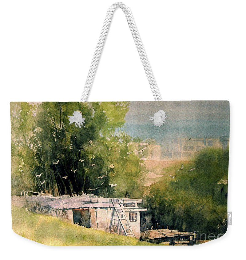 Scene Weekender Tote Bag featuring the painting Pigeon Hut by Diane Agius