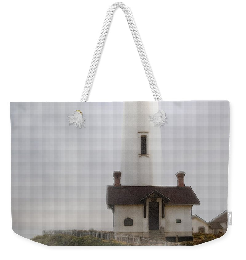 Ocean Weekender Tote Bag featuring the photograph Pigeon Point Lighthouse by Karen W Meyer