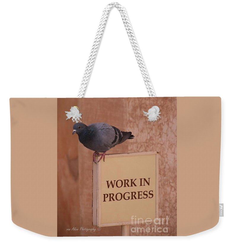 Wildlife Weekender Tote Bag featuring the photograph Pigeon - Work In Progress by Mikhael van Aken